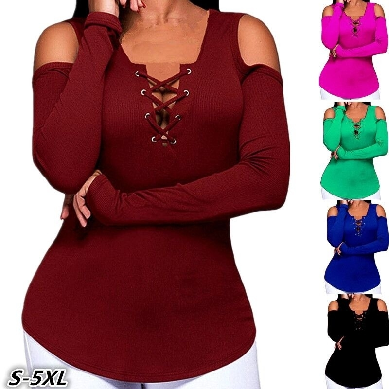 Fashion Long Sleeve Casual Strapless Solid Color Women Top T -shirt - Wine red, S 5bade1aa6fae2e2edb526b00