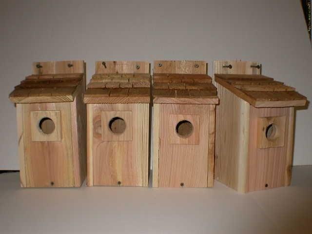 4- Bluebird bird houses bird nest with cedar shake roof (CEDARNEST) photo