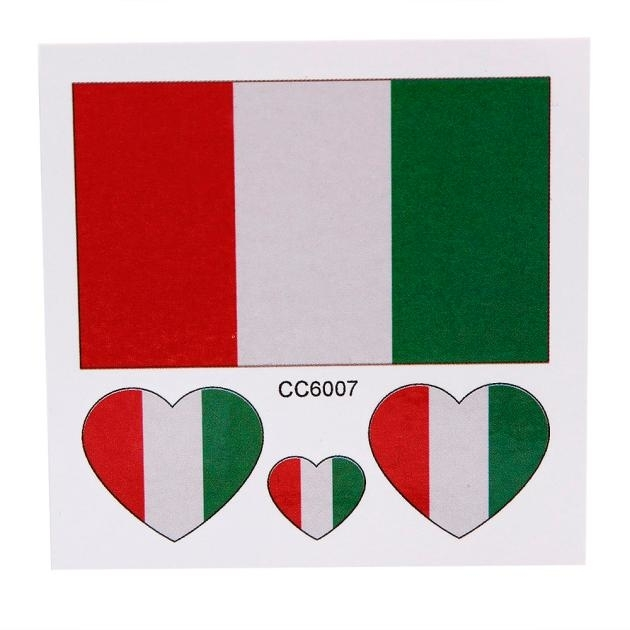 Nation Flag Temporary Tattoo Face Sticker Italy Flags