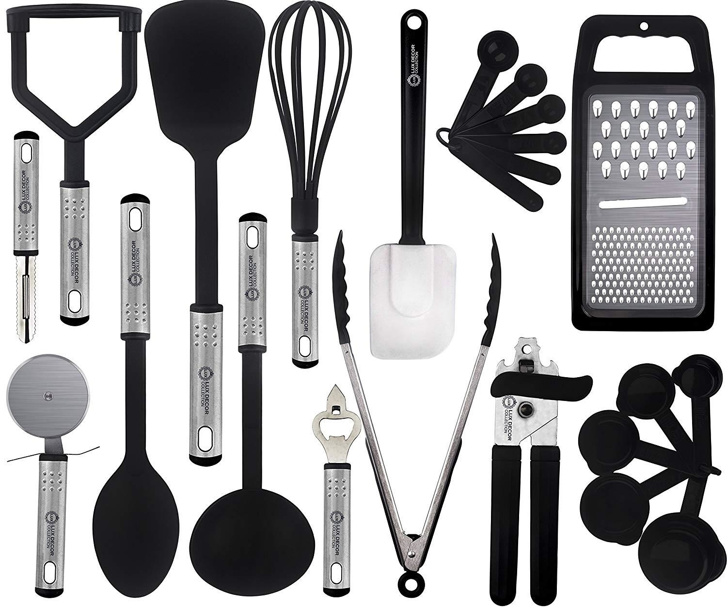 Cooking Utensils Set – 23 Pieces – Nylon Kitchen Utensils/Gadgets/Cookware Sets – By Lux Décor Collection