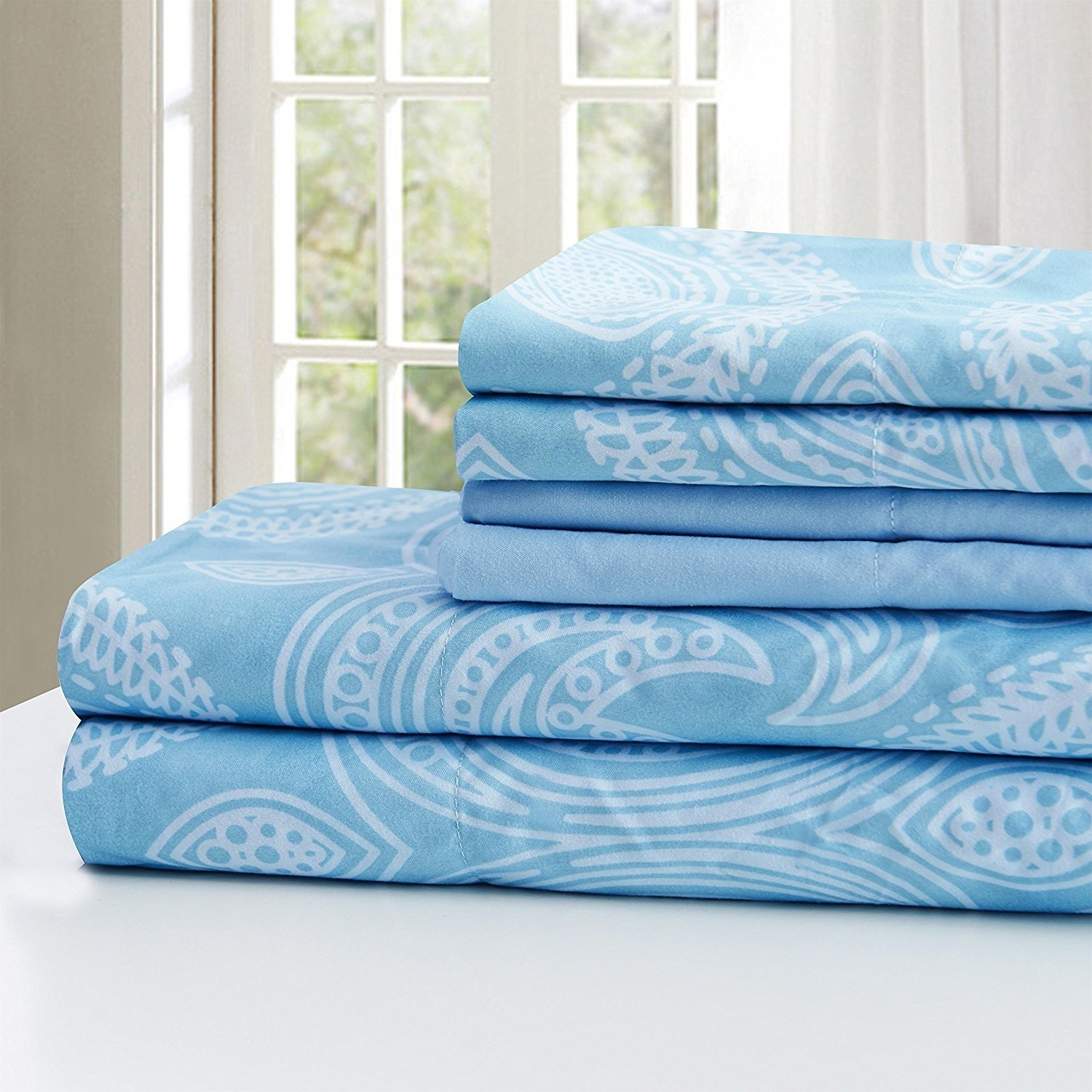 Ultra Soft Paisley Printed 6 Piece Bed Sheet set - Blue, Twin