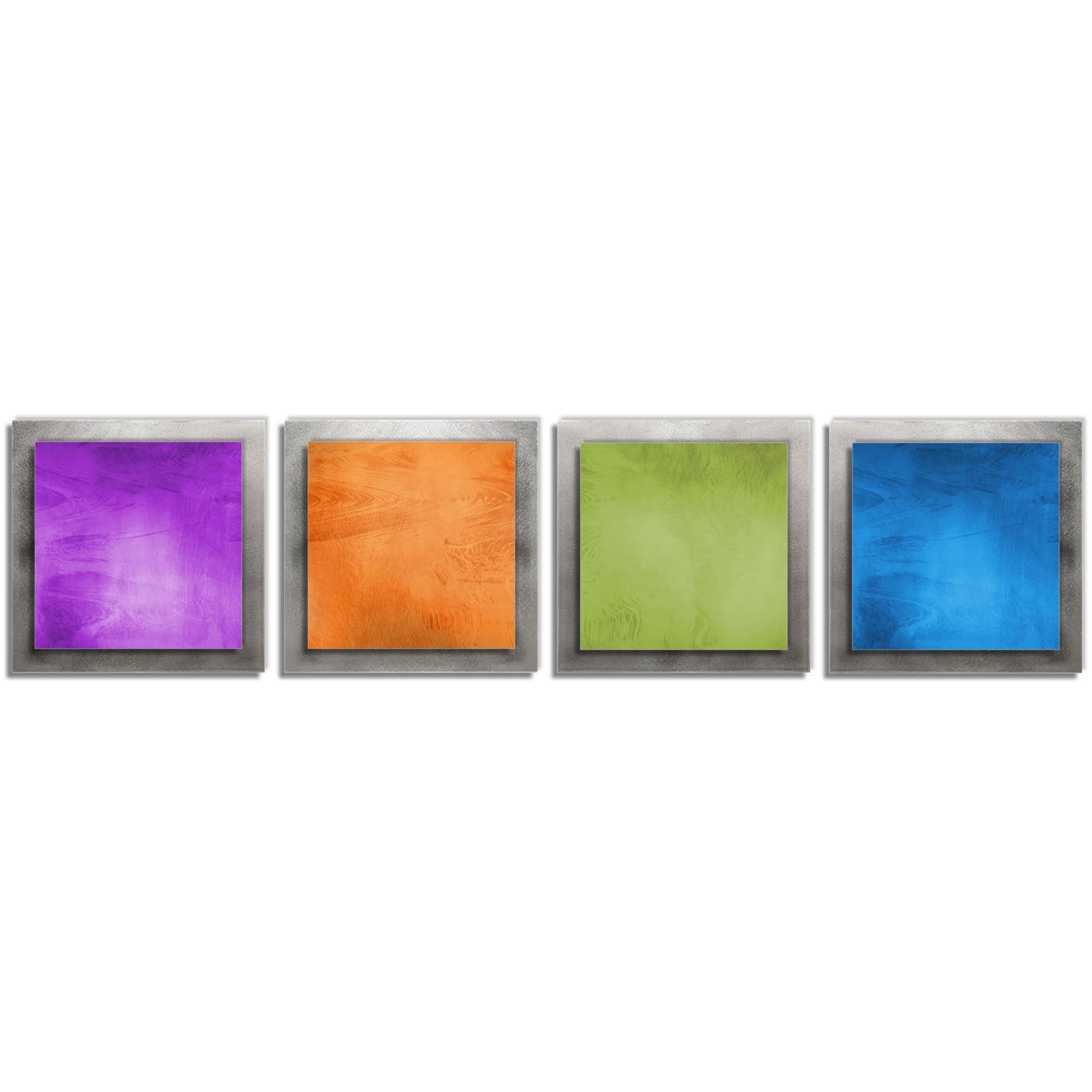 'Seasonal Essence' - Hand-Crafted Fine Metal Art - Modern Abstract Artisan Grind Patterns and Beveled Edges. Safe for Indoor and Outdoor use