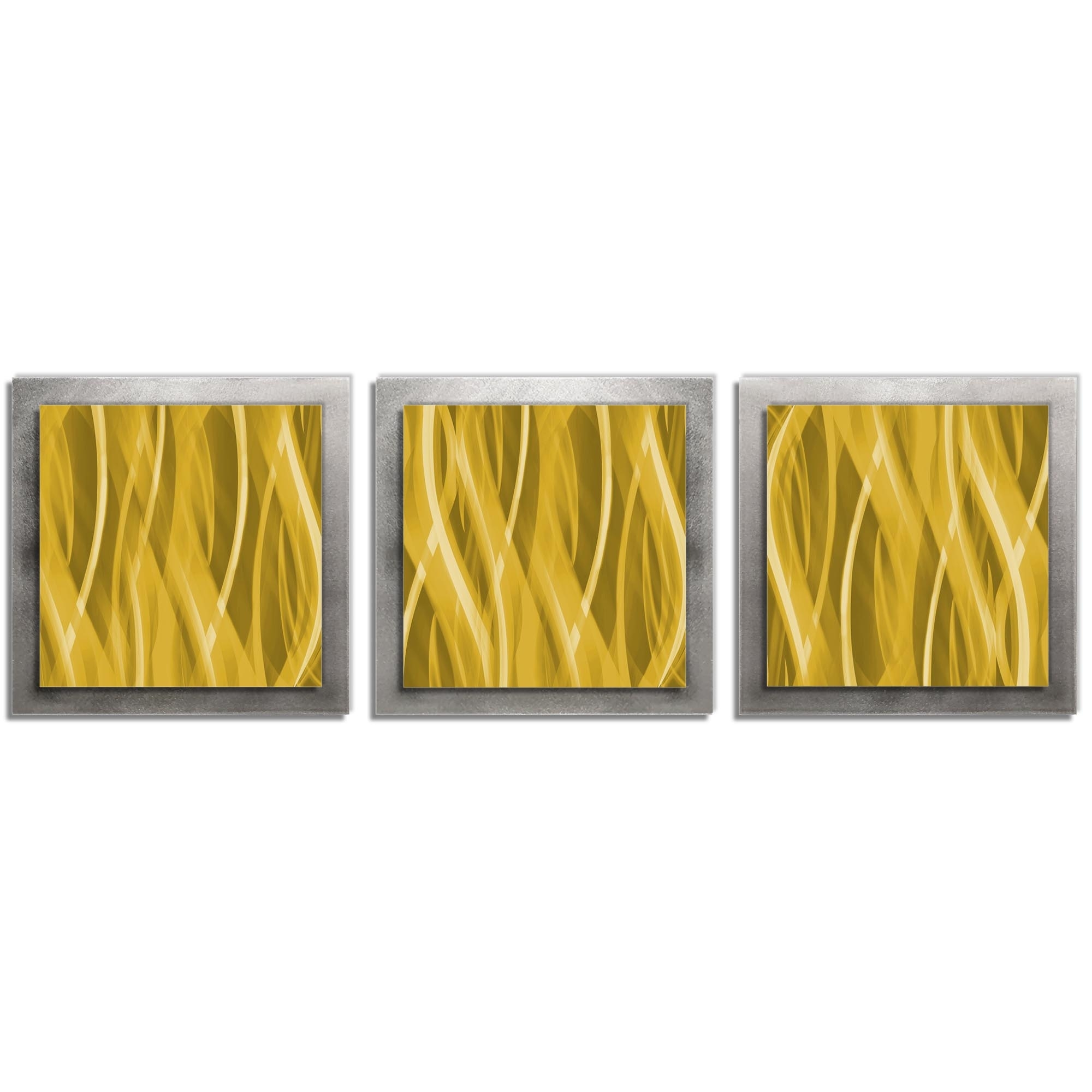 Golden Wall Art 'Gold Essence' - 38x12 in. -Metal Artwork, Contemporary Decor - Modern Metal Painting