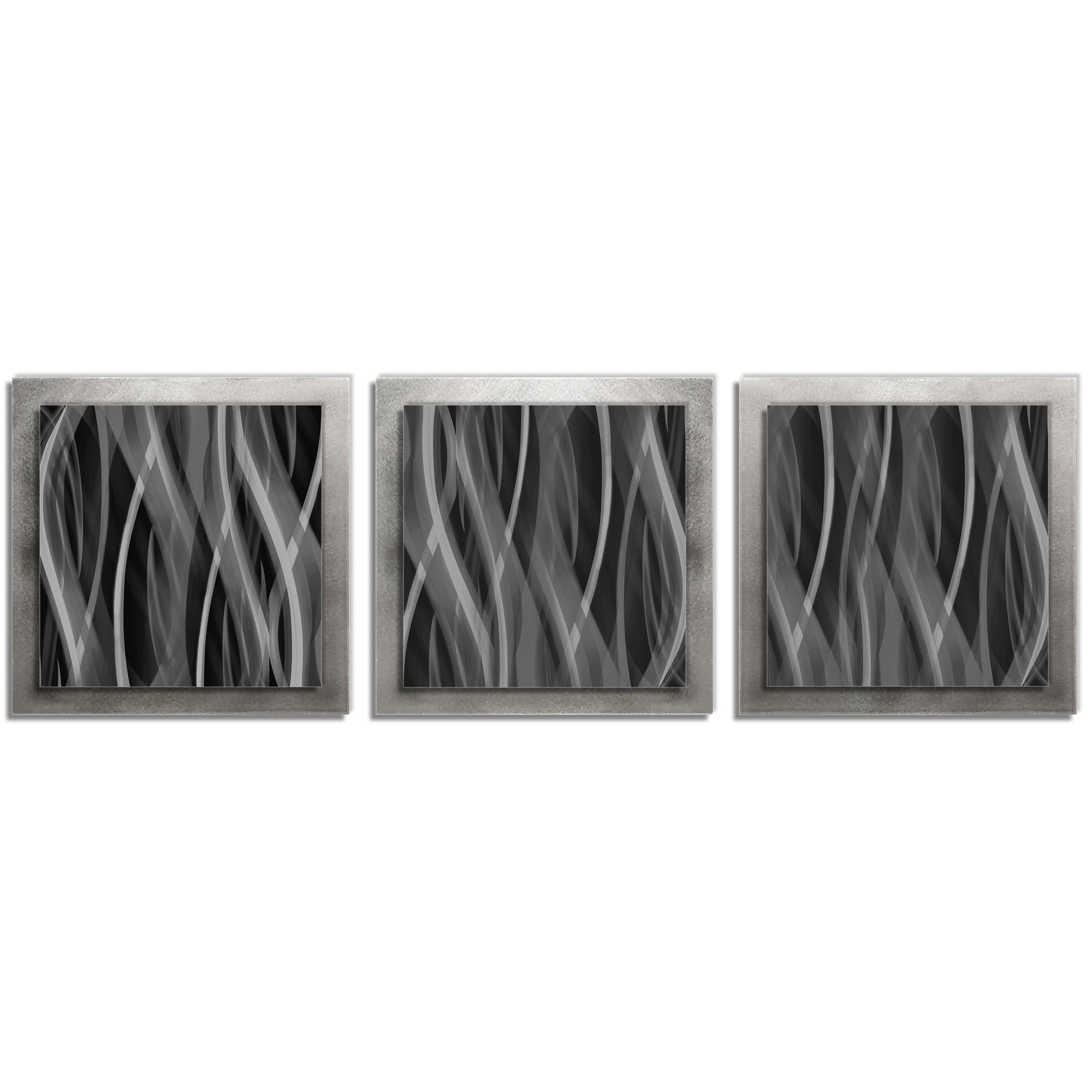 Gray Wall Art 'Pewter Essence' - 38x12 in. -Metal Artwork, Contemporary Decor - Modern Metal Painting