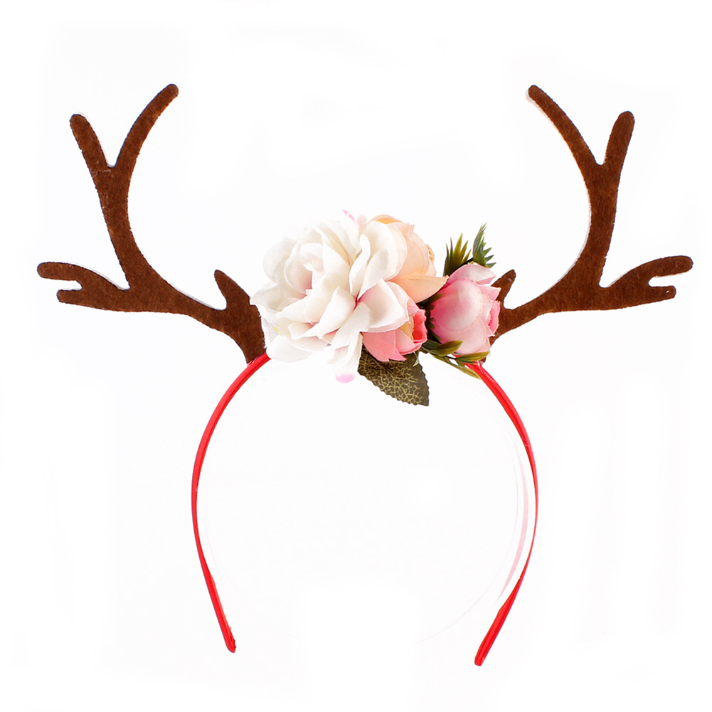 Deer Antlers Flower Headband Baby Girl Headdress Party Headwear Cosplay Costume