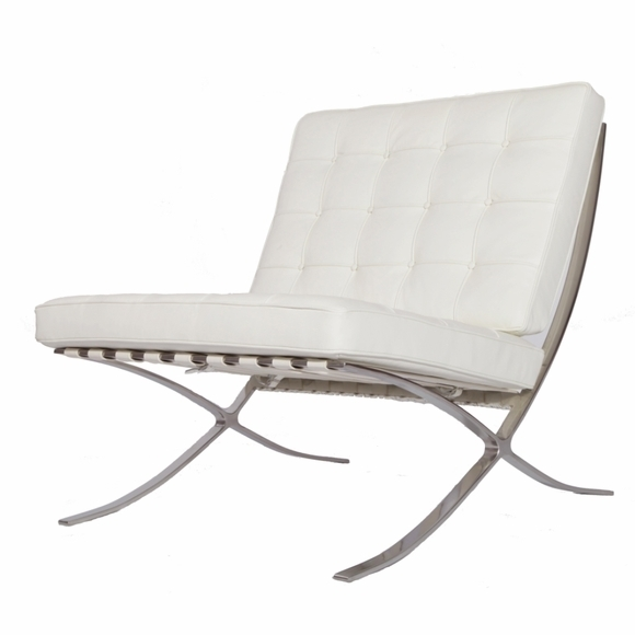 eMod - Pavilion Barcelona Chair in Italian Leather White