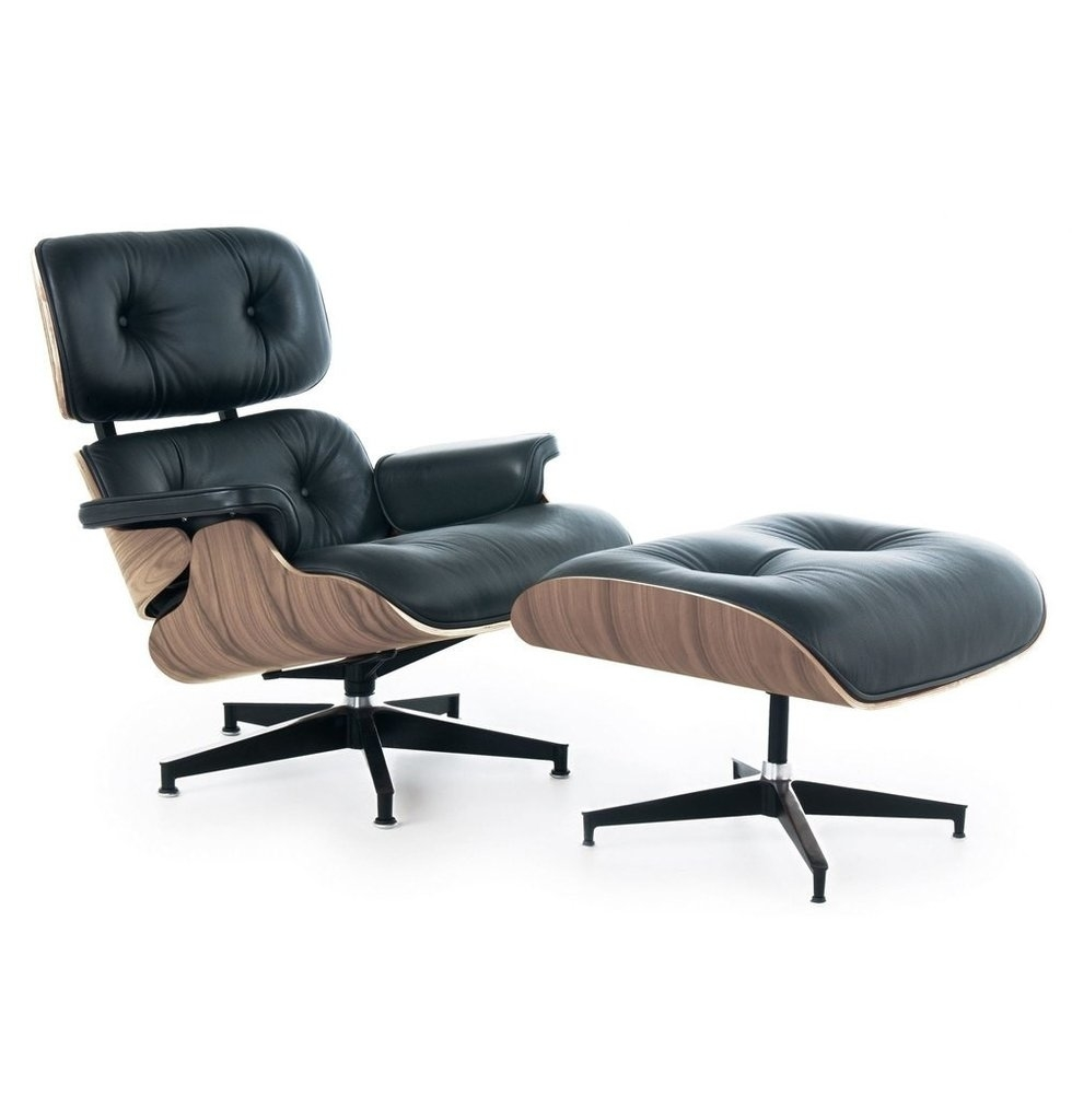 Mid-Century Lounge Chair and Ottoman, Black Leather, Walnut