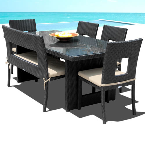 Nicole 6-Pc Outdoor Patio Dining Table Chair & Bench Set
