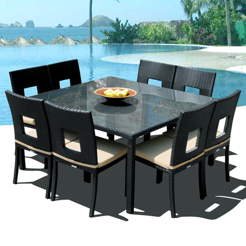 Nicole 9-Pc Outdoor Patio Dining Table & Chair Set