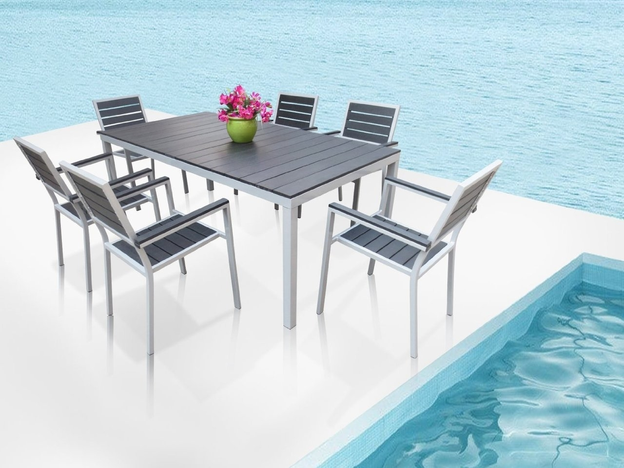 Torino 7-Pc Outdoor Patio Rectangular Dining Table & Chairs Set