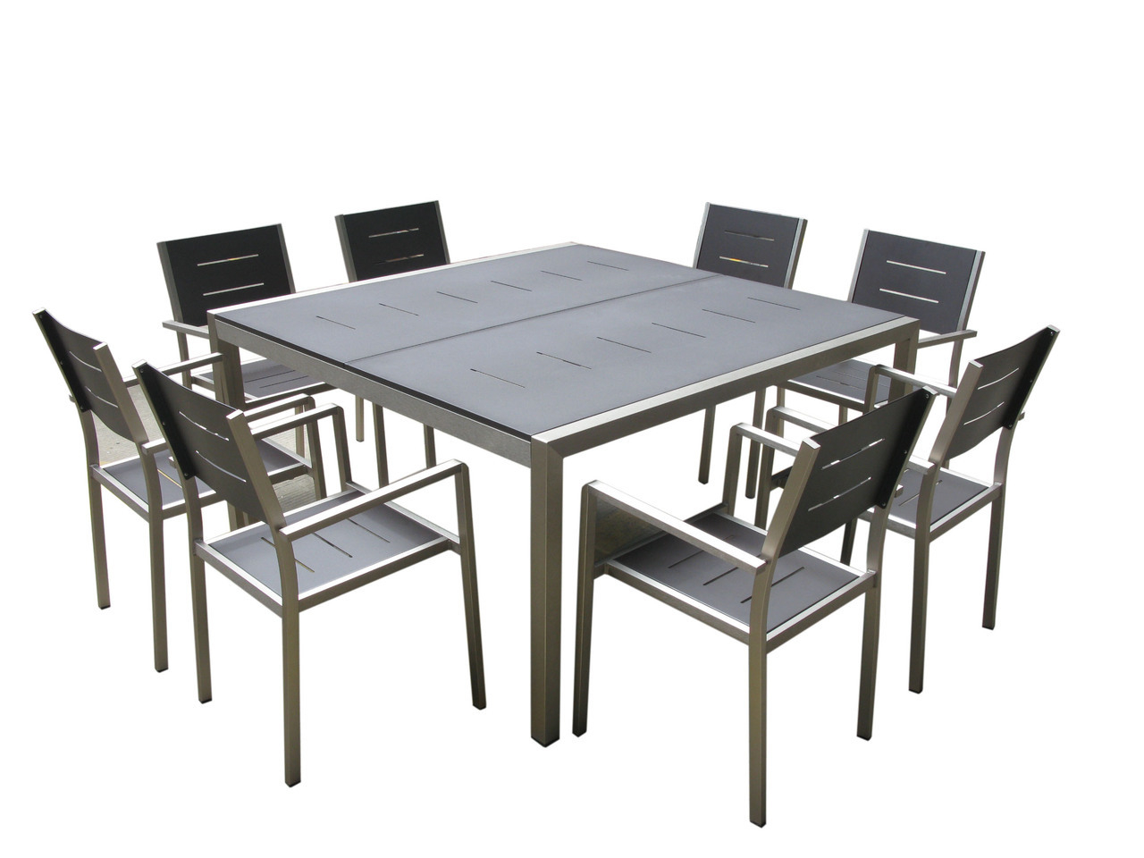 Monaco 9-Pc New Aluminum Square Dining Table & Chairs Set