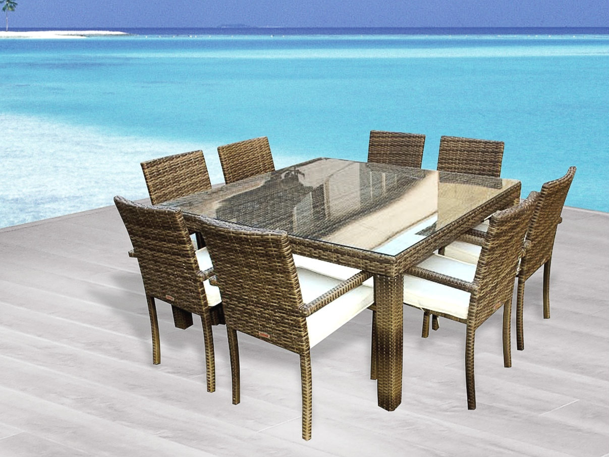 Cozumel 9-Pc Outdoor Patio Square Dining Table & Chairs Set