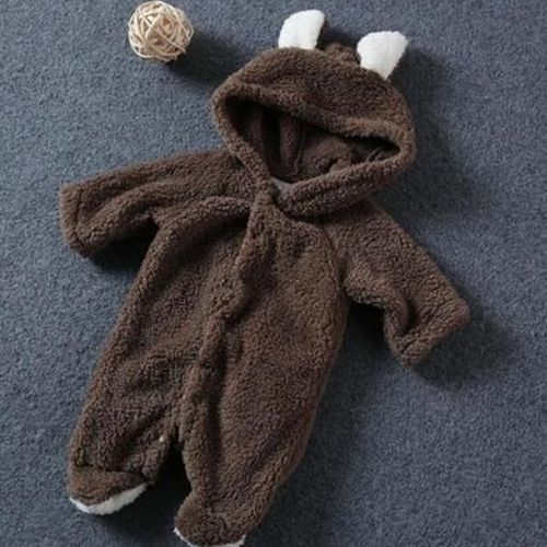 Baby Romper Coral Fleece Romper with Tail