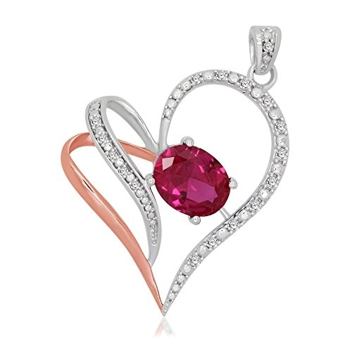 3.15 Cttw Oval & Round Cut Sim. Red Ruby & Natural Diamond Sterling Silver Heart Pendant