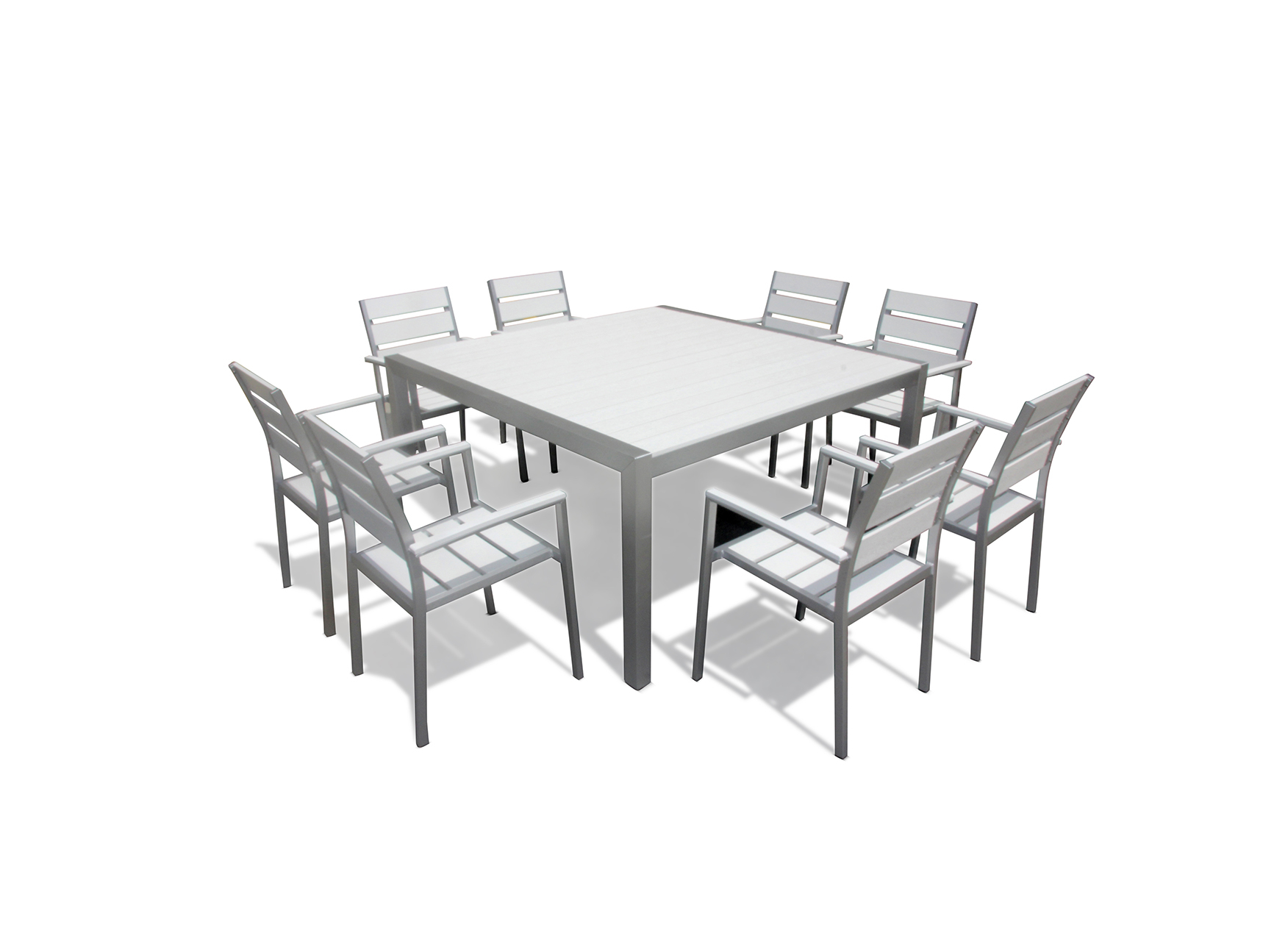 Torino Aluminum Resin 9-Pc Square Dining Table & Chairs Set