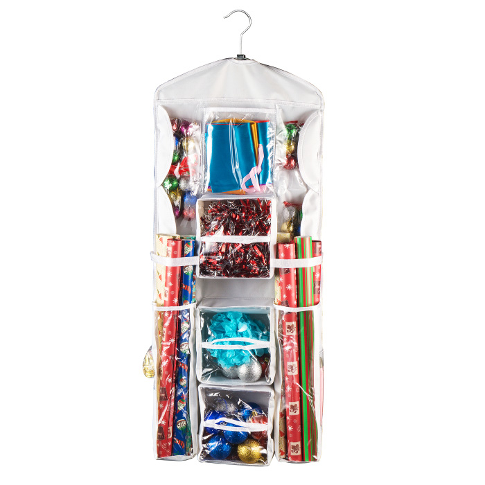 Double Sided Deluxe Hanging Gift Wrap Station Bag Organizer for Closet or Home