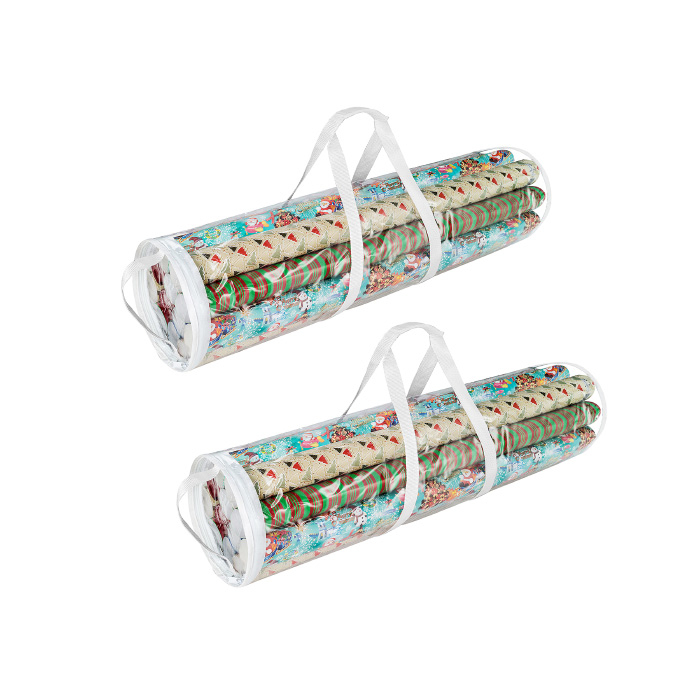 2 Pack 30 Inch Christmas Wrapping Paper Storage Bag Tube Handle Zipper