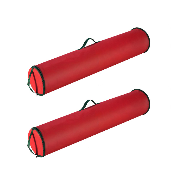 2 Pack Red 40 Inch Christmas Wrapping Paper Storage Bag Tube Handle Zipper