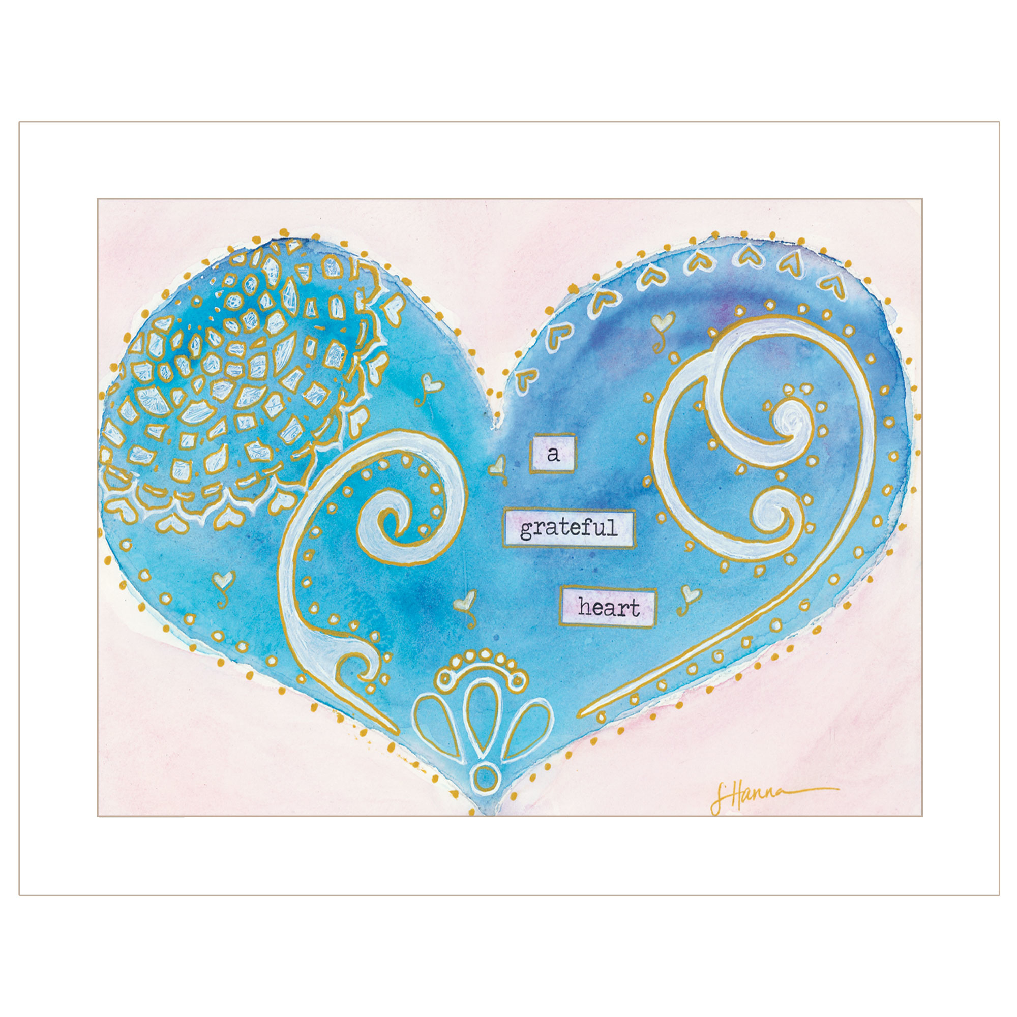 """Grateful Heart"" by artist Lorri Hanna. This decorative white framed print 19""x15"" of a heart with the script ""a Grateful Heart"" with added designs of hearts, swirls and blocks. Prints are UV coated (glass is not needed) and arrives ready to hang. Textured Artwork with a 'rolled on' acid-free acrylic coating to create a canvas painting effect. UV Protectant Coating protects artwork from fading. No glass is necessary. Moulding adds natural beauty to the framed art. Frame is keyholed for the easy hanging. This Fine Home Decor piece made in the USA by Woman Owned Business (Wbe) is a perfect gift??for a friend or relative."