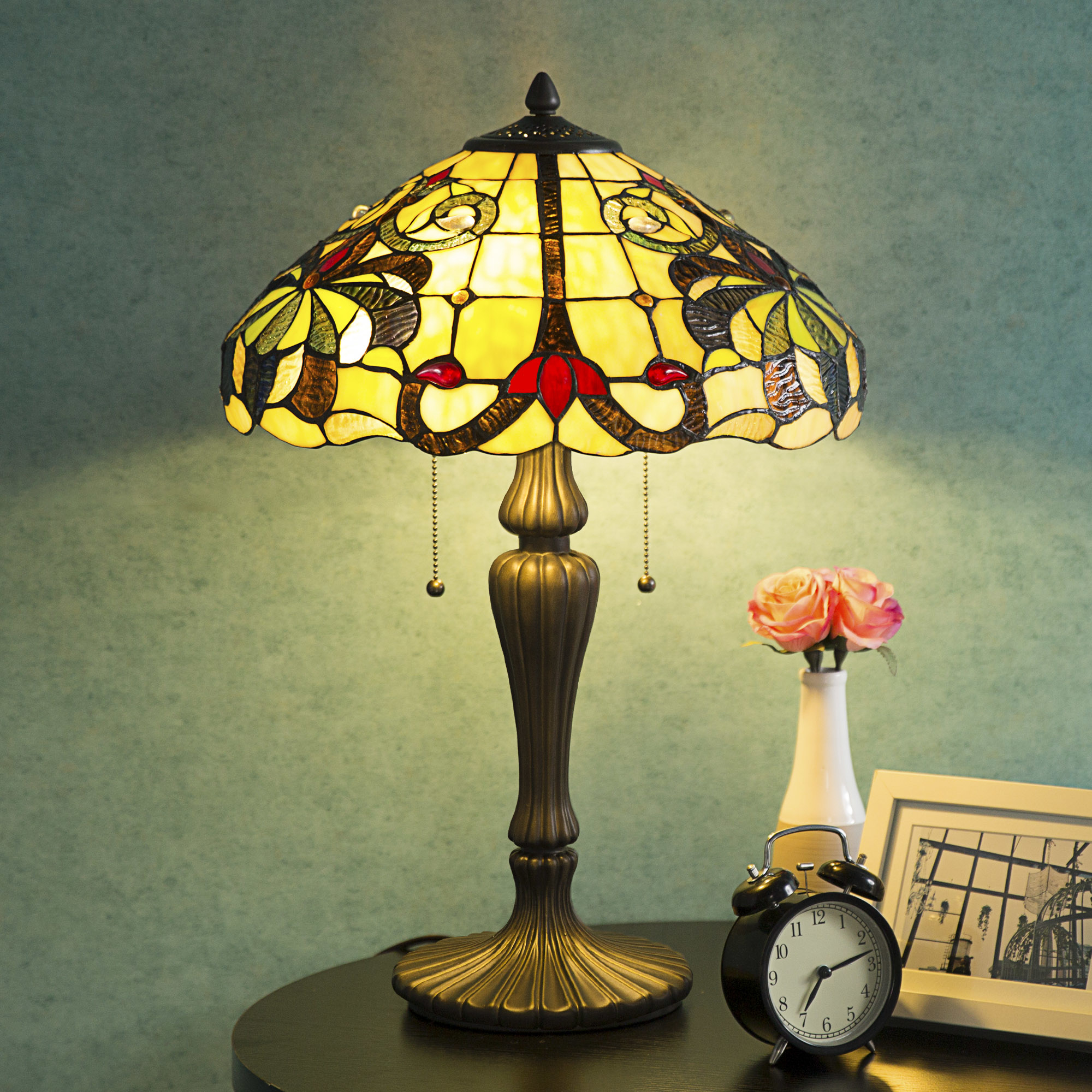 "Tiffany-Style Table Lamp Victorian 2-Light with 14"" Shade 38\""Height"