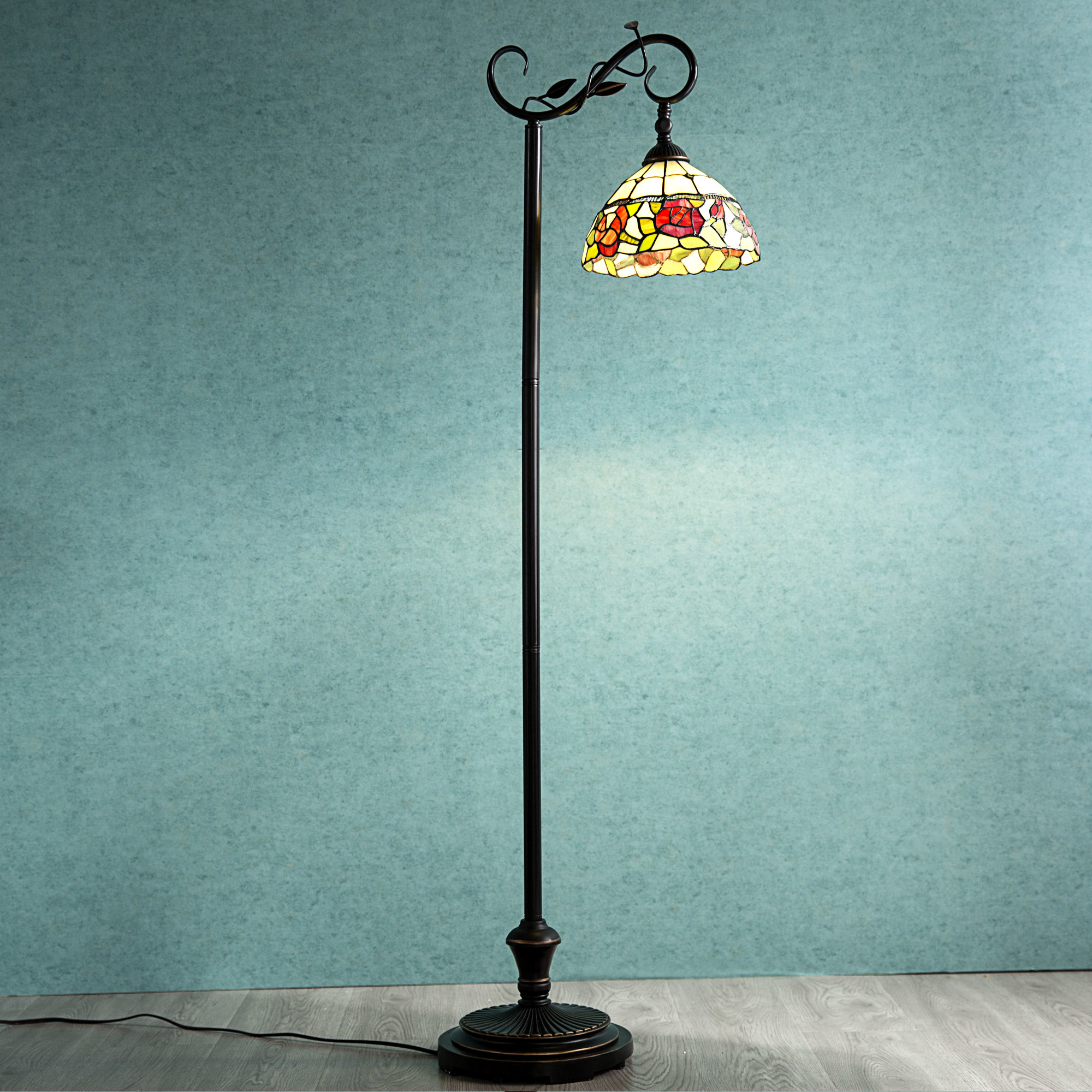 Tiffany Style Arched Floor Lamp Victorian Rose Stained Glass Lamp