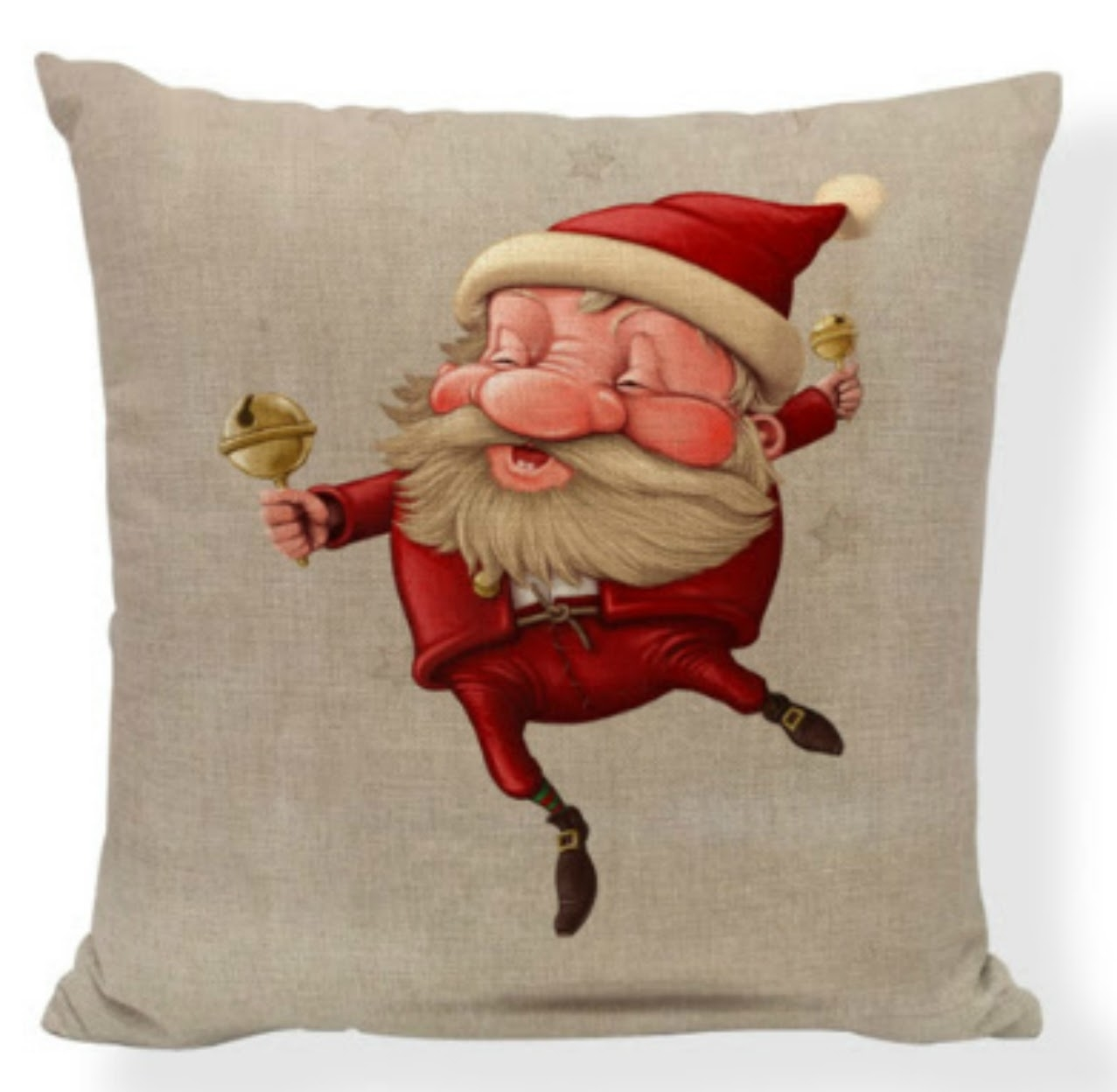 BUY 2 GET 1 Free Festive Santa Christmas Pillow Covers - Jingle Bell Santa