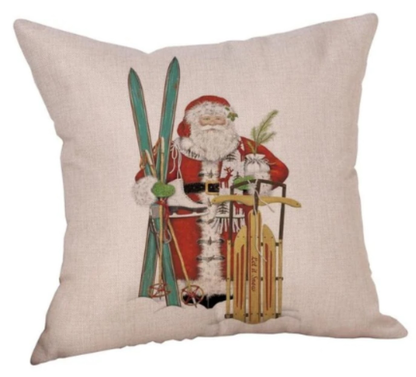 BUY 2 GET 1 Free Festive Christmas Pillow Covers - Santa with Skis