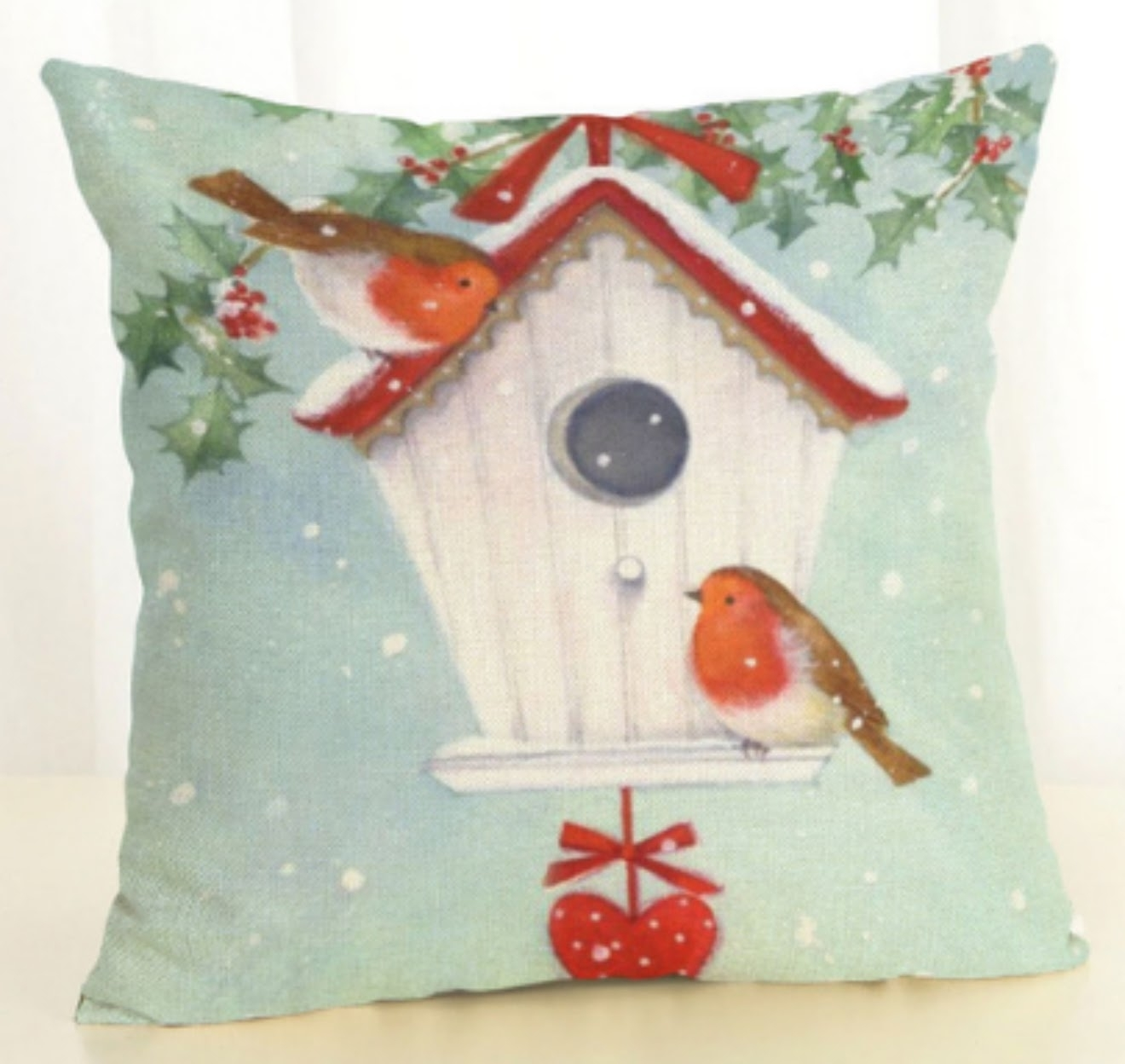 BUY 2 GET 1 Free Pretty Christmas Pillow Covers - Large Birdhouse