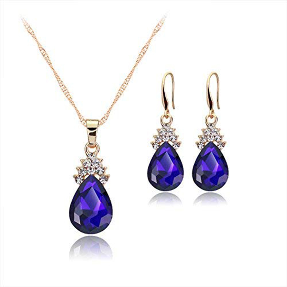 Fashion jewelry set female crystal zircon drop necklace earrings set combination