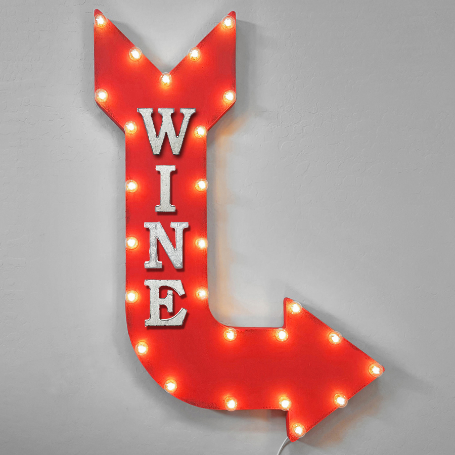 Wine Wine Bar Vino Red White Wine Drink Drinks Light Up Restaurant Large Rustic Metal Marquee Sign Arrow - 14 Colors. - Rust, Right Vertical, Plug-In