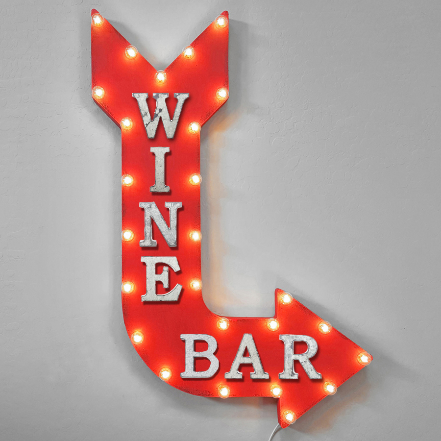 Wine Bar Winebar Red White Wine Drink Drinks Light Up Restaurant Large Rustic Metal Marquee Sign Arrow - 14 Colors. - Rust, Right Vertical, Battery Operated