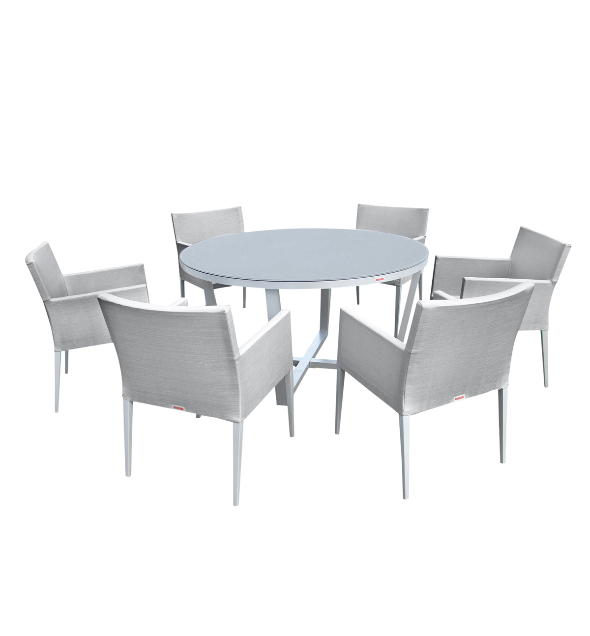 Parisia New Aluminum Gray Frosted Glass 7-Pc Round Dining Table Set