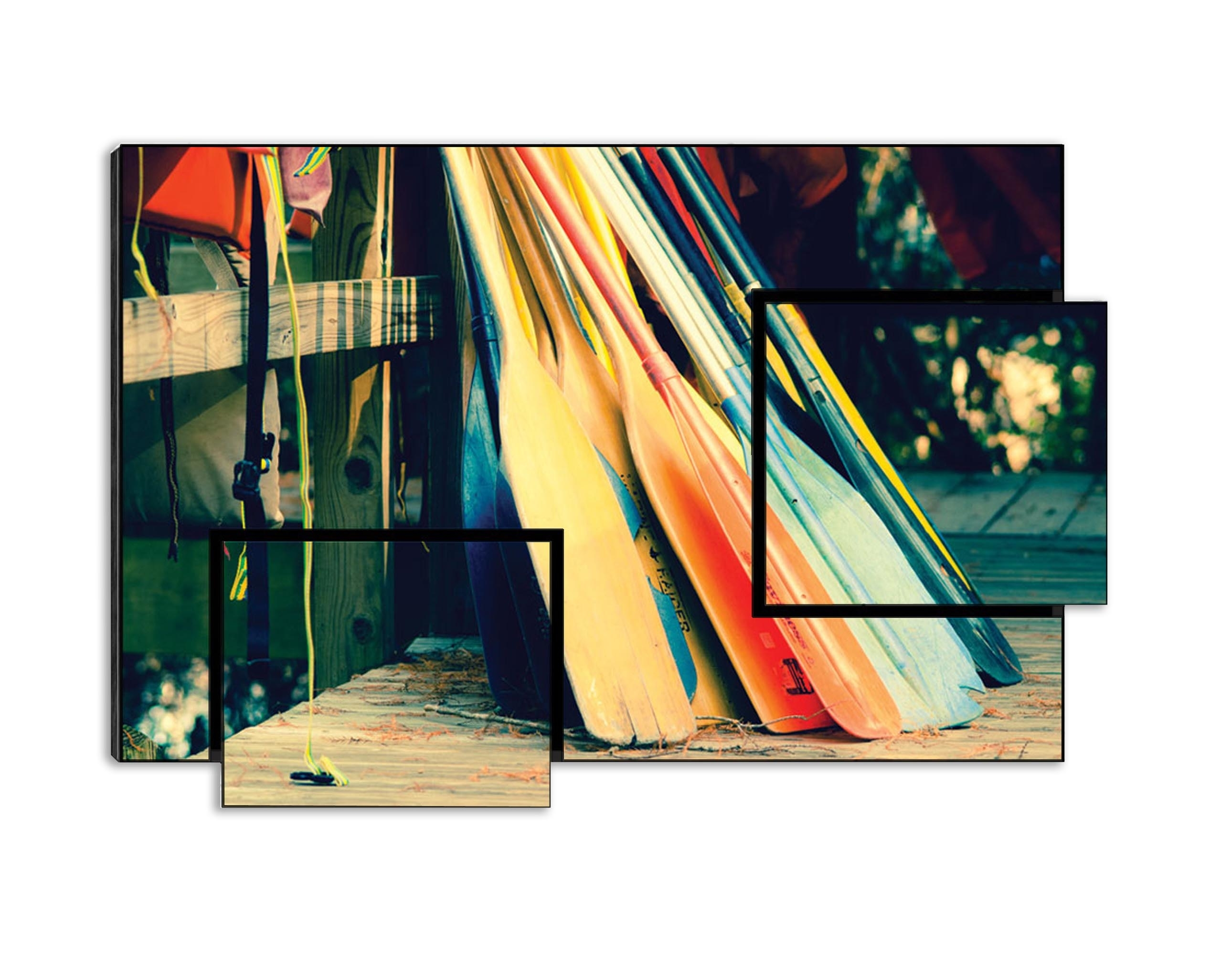 """Caddo Canoes II - Sonja Quintero, Rowing Boats, Forest, 28.4\"""" x 19\"""" Print on Wood"""