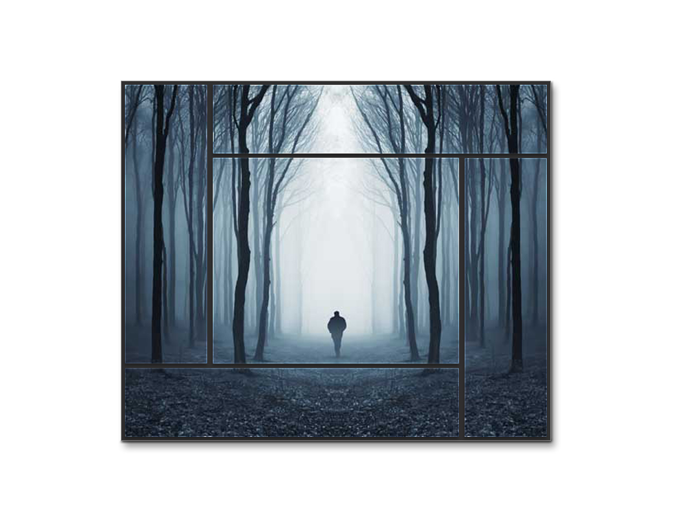 "The Woods - Forest Walk, Wanderer, Black and White 36"" x 30.4\"" Print on Wood"