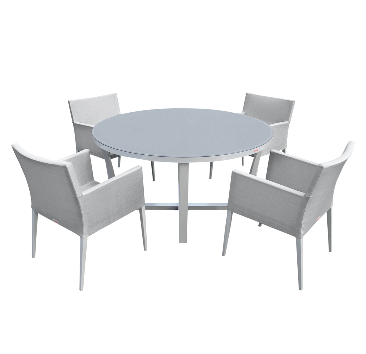 Parisia New Aluminum Gray Frosted Glass 5-Pc Round Dining Table Set