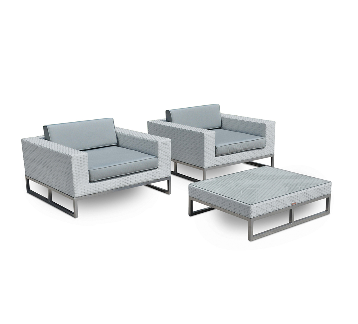 Monaco 3-Pc Outdoor Patio Furniture All Weather Wicker Arm Chair Set