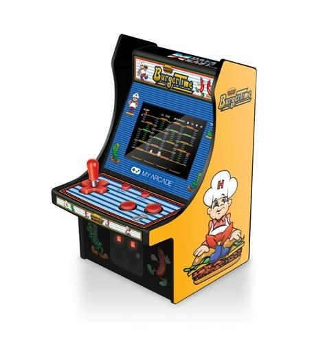 - features artwork inspired by the original burgertime arcade cabinet- removable joystick- perfect for any game room, office, or display case- volume control and 3.5mm headphone jack- 4 aa batteries required, (not included)