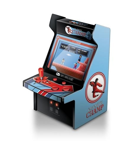 - features artwork inspired by the original karate champ arcade cabinet- removable joystick- perfect for any game room, office, or display case- volume control and 3.5mm headphone jack- 4 aa batteries required, (not included)