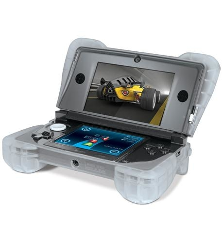 - comfort grip for nintendo 3ds in clear- silicone cover that wraps around the nintendo 3ds to protect against accidental drops and scratches- ergonomic design for maximum comfort- cutouts for ports, sliders, and camera- translucent silicone for unique look- slips on and off with ease