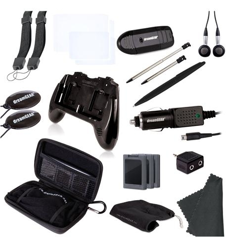 - 20 in 1 essentials kit for nintendo 3ds in black- includes:- play it loud dual stereo speaker grip, requires two aaa batteries (not included)- protective carry case- 2 small precision styluses- large stylus- earbuds- 3 game cases, protect and store 3 games- 2 wrist straps- 2 screen cleaners- 2 screen protectors- car charger- audio splitter- usb sd card reader- microfiber cleaning cloth- carry all tote bag