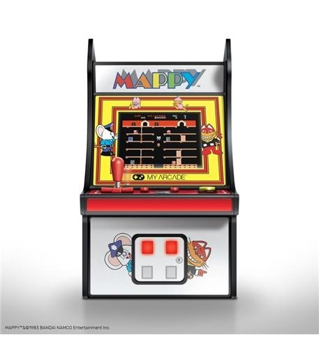 - full color 2.75 screen- features artwork inspired by the original mappy arcade cabinet- removable joystick- built-in speaker with volume control- 3.5mm headphone jack to connect your headphones- powered by either 4 aa batteries or by any micro-usb cable (not included)