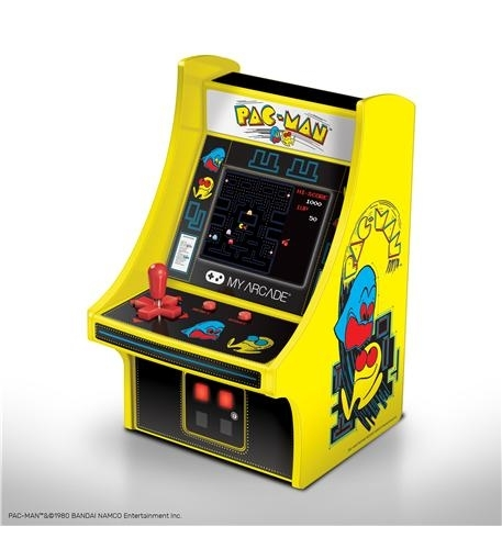 - full color 2.75 screen- features artwork inspired by the original pac-man arcade cabinet- removable joystick- built-in speaker with volume control- 3.5mm headphone jack to connect your headphones- powered by either 4 aa batteries or by any micro-usb cable (not included)- perfect for any game room, office or display case!