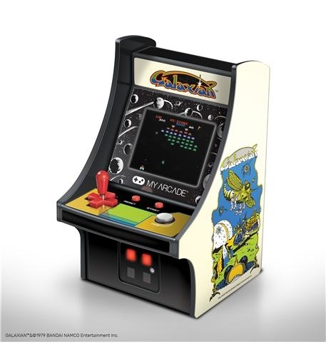- full color 2.75 screen- features artwork inspired by the original galaxian arcade cabinet- removable joystick- built-in speaker with volume control- 3.5mm headphone jack to connect your headphones- powered by either 4 aa batteries or by any micro-usb cable (not included)