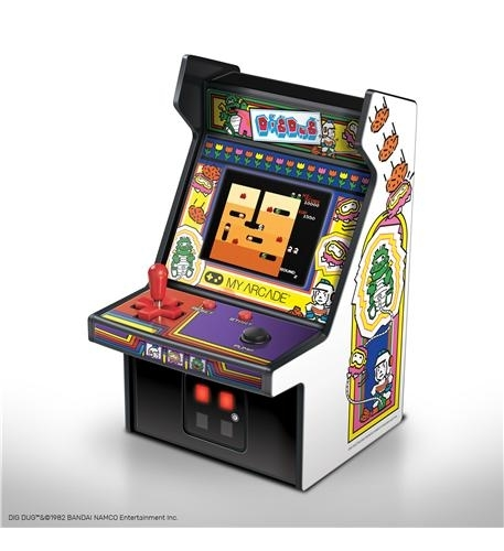 - full color 2.75 screen- features artwork inspired by the original dig dug arcade cabinet- removable joystick- built-in speaker with volume control- 3.5mm headphone jack to connect your headphones- powered by either 4 aa batteries or by any micro-usb cable (not included)