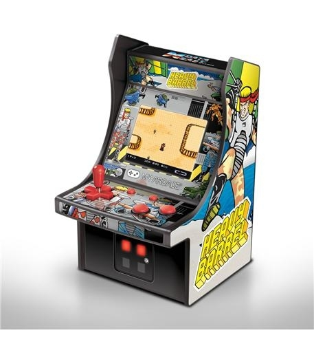 - features artwork inspired by the original heavy barrel arcade cabinet- full color, 2.75 screen- removable joystick- perfect for any game room, office, or display case- volume control and 3.5mm headphone jack- power with a micro-usb cable or 4 aa batteries (not included)