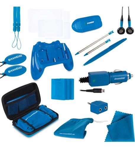 - 20 in 1 essentials kit for nintendo 3ds in blue- includes:- play it loud dual stereo speaker grip, requires two aaa batteries (not included)- protective carry case- 2 small precision styluses- large stylus- earbuds- 3 game cases, protect and store 3 games- 2 wrist straps- 2 screen cleaners- 2 screen protectors- car charger- audio splitter- usb sd card reader- microfiber cleaning cloth- carry all tote bag
