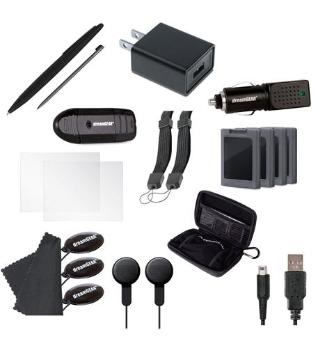 - includes:- usb ac adapter- usb car charger- carrying case- sd card reader- usb charge cable- large and precision styluses- earbuds- 4 game cases- 2 wrist straps- 2 screen protectors- 4 screen cleaners