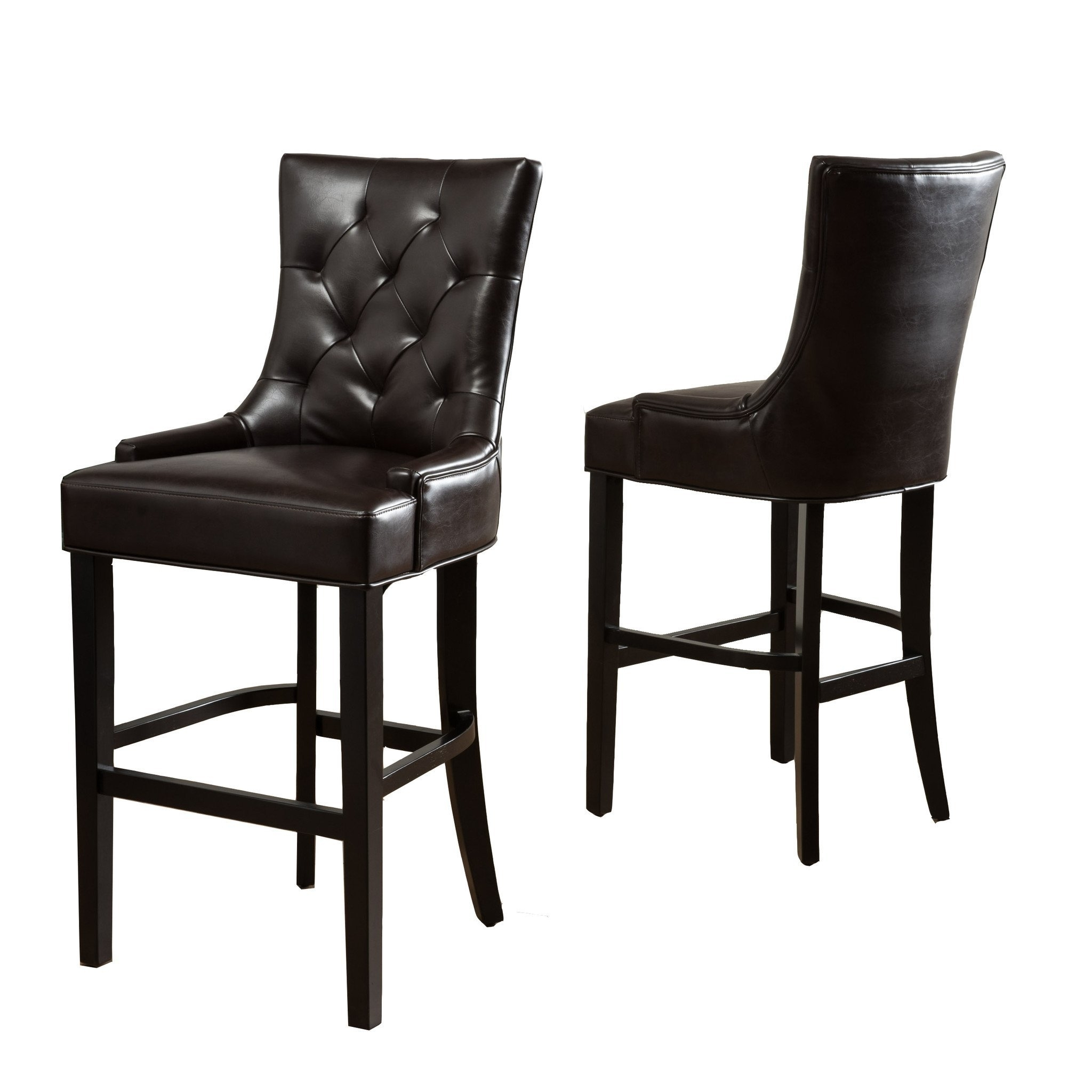 Lagerfelt Brown Bonded Leather 30-Inch Barstools (Set of 2)