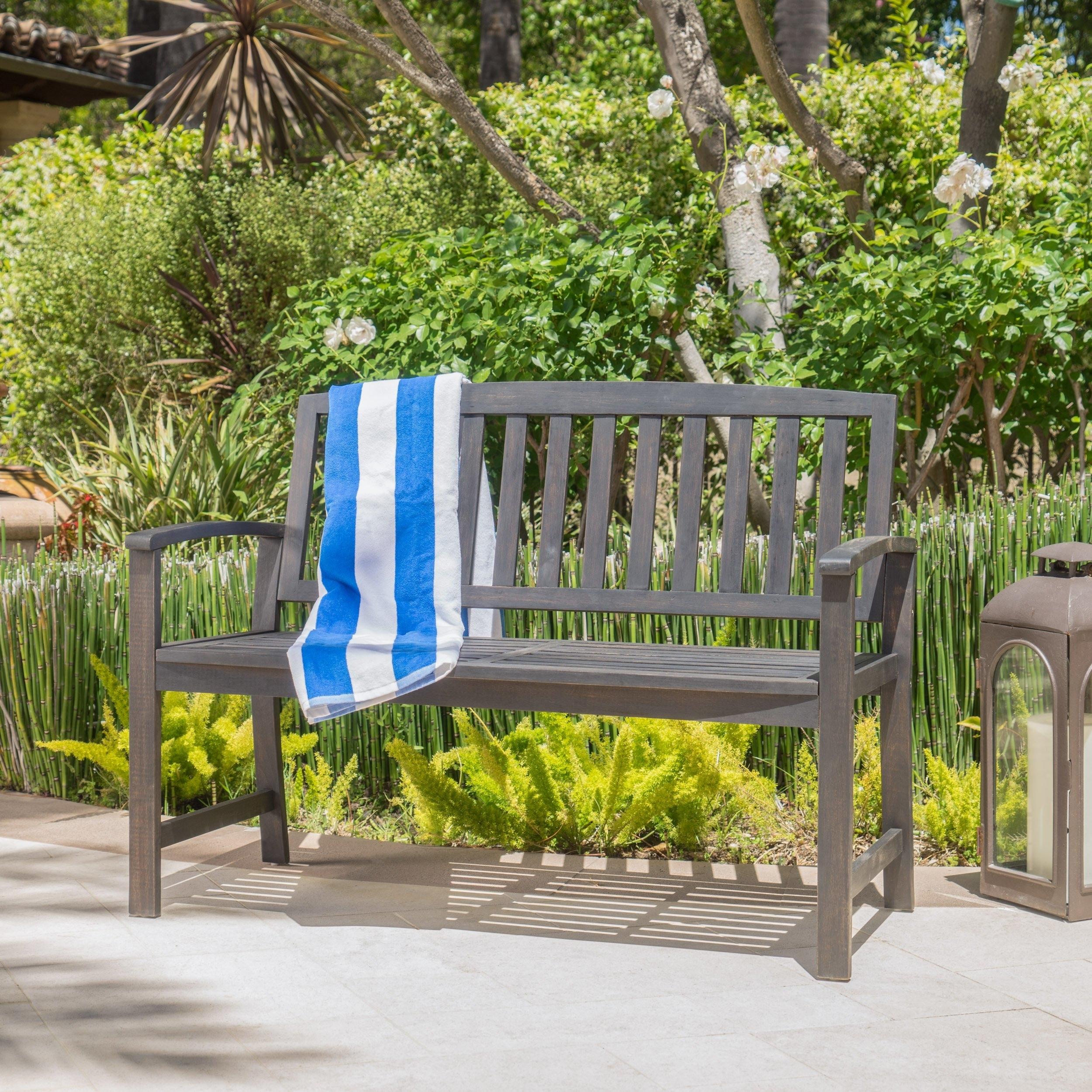 Laguna Outdoor Patio Acacia Wood Bench