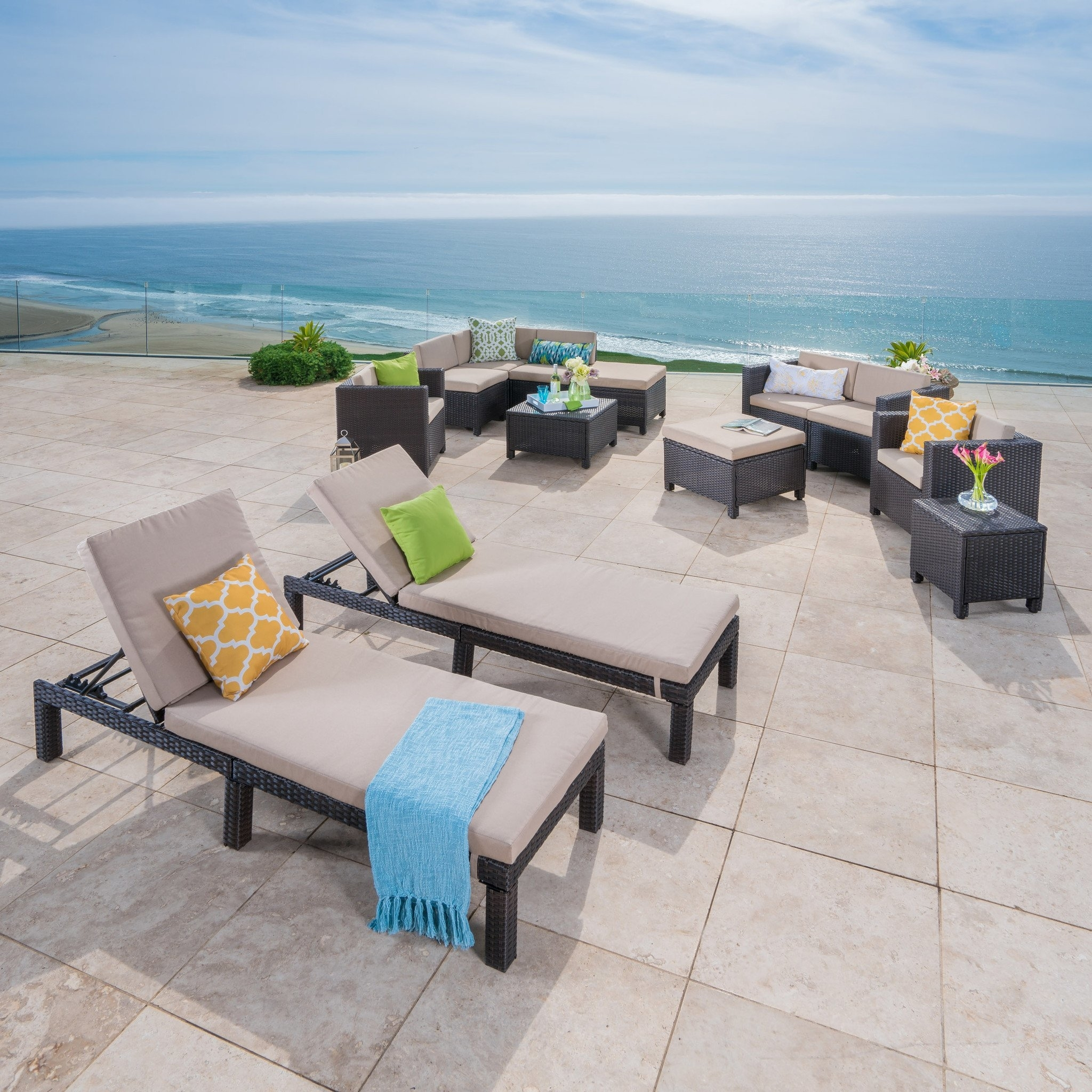 Patagonia Outdoor 13 Pc Wicker Patio Set w/ Water Resistant Cushions